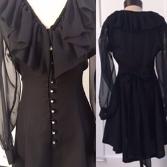 Vintage Mini Lace Evening Dress. Semi Sheer Black