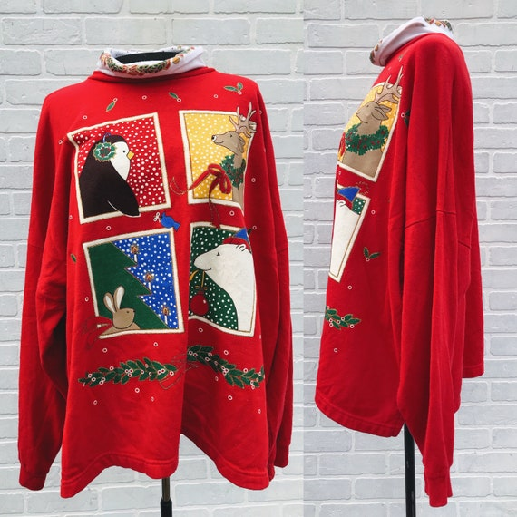 Vintage Christmas Sweater. Christmas Characters Sw