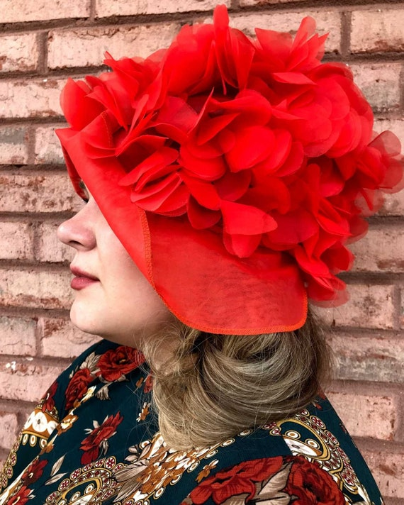 Vintage Silk Flower Hat. Statement Hat. Coral Bonn