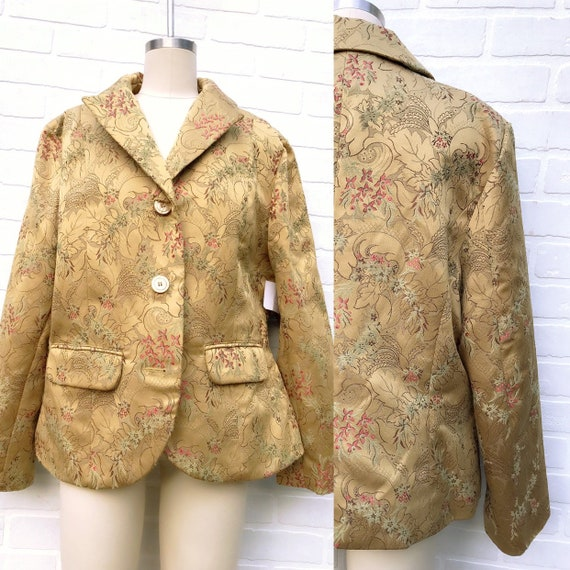 Vintage Embroidered Gold Jacket. Golden Tapestry B