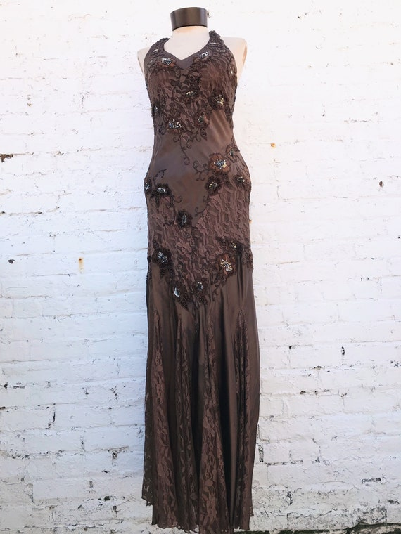 Vintage Brown Beaded Cache Gown. Beaded Lace Flare Floor Length Gown.