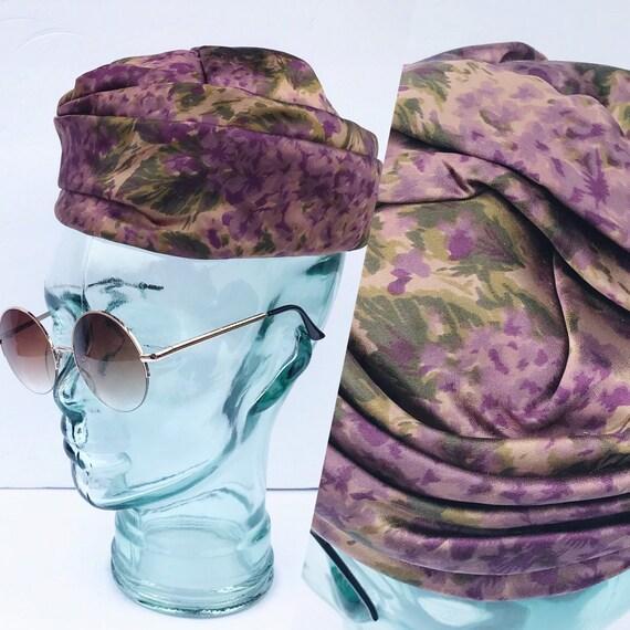 Vintage Floral Lavender Purple Pill Hat. 1950's Fl