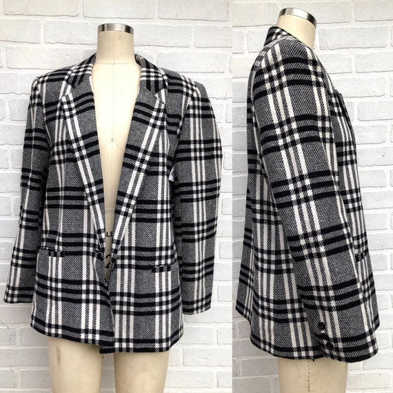 Vintage Black and White Plaid Blazer. Oversized Pl