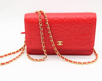 86a8f910e27987 Pre-owned Authentic CHANEL Mini Matelasse Red Shoulder Bag Gold Hardware &  CC WOC