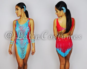a74fdfcd2 Ballroom Latin Dance Salsa Dress Costume Cut out Bodysuit Custom Made with  Fringe Skirt