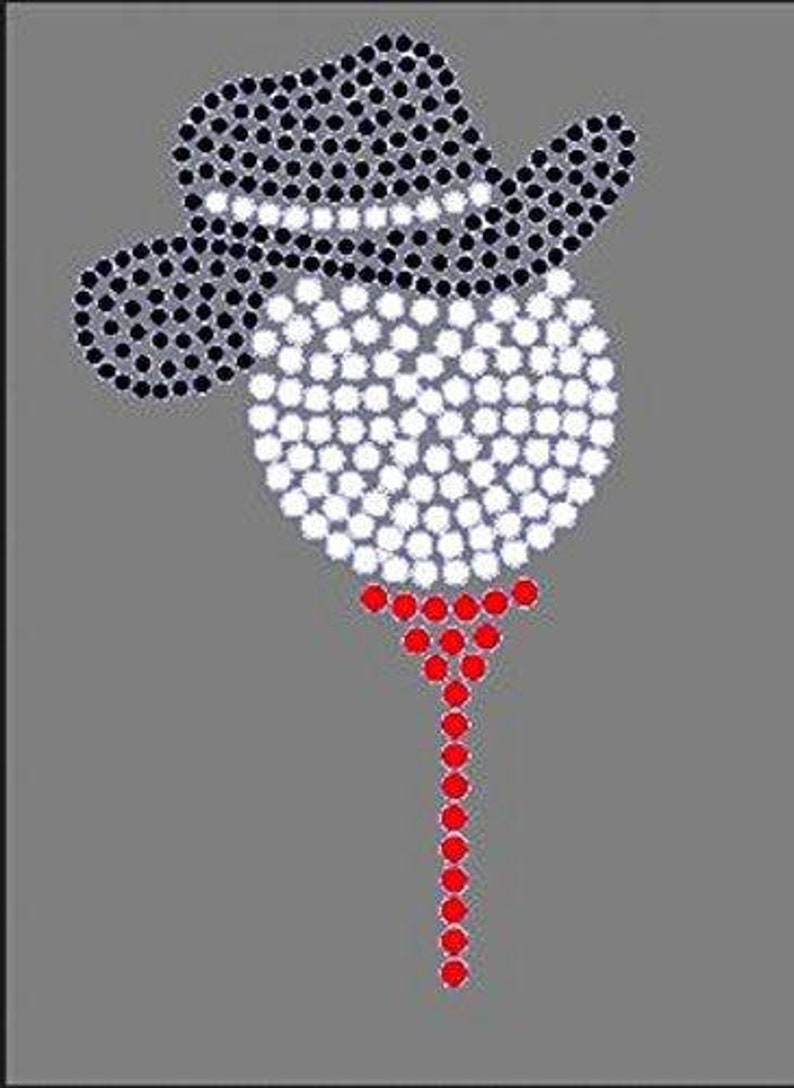 a85fd2a0c2 Bling Teed Golf Ball W/cowgirl Hat Rhinestone Iron on Transfer 3T3N ...