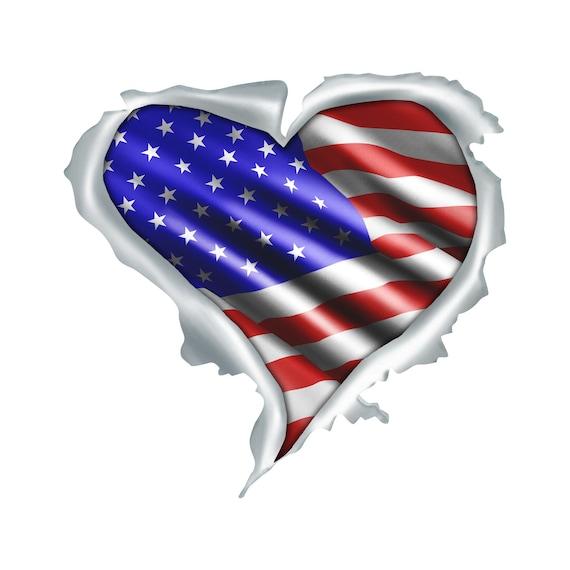 Heart Shaped American Flag Sticker American Vinyl USA Made Patriotic Patriot Love