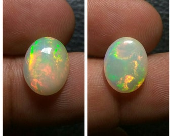 Opal-fire opal-Natural Ethiopian opal-welo opal-multifire opal-opal cabochon-oval opal-opal cab-jewelry supply-2 pcs Lot-TCW 4.0 carat-T25