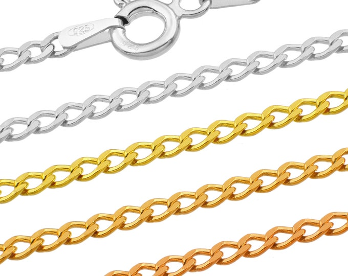 Curb chains - 925 sterling silver - 40 45 50 55 60 65 70 75 cm - 2.3 mm