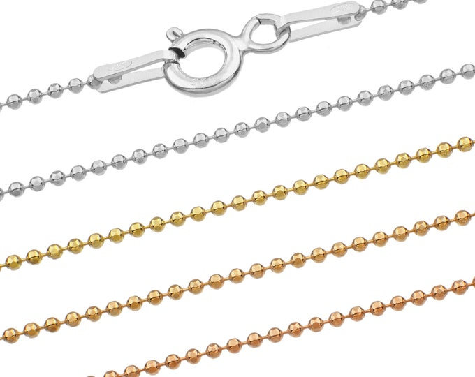 Ball chains - 925 sterling silver 40 45 50 55 60 65 70 75 cm - 1 mm