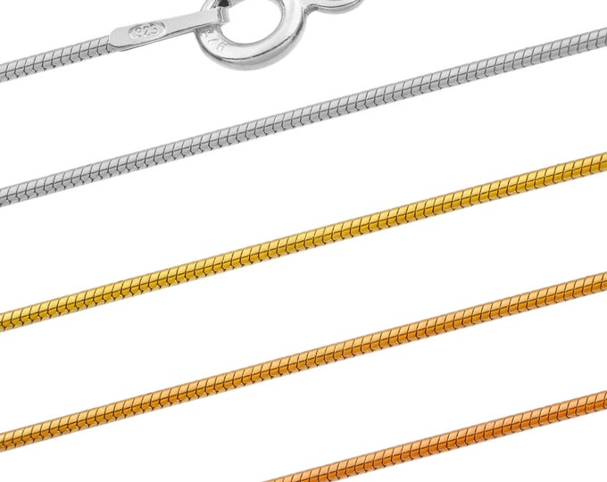 Snake chains - 925 sterling silver - 40 45 50 55 60 65 70 75 cm - 0.75 mm