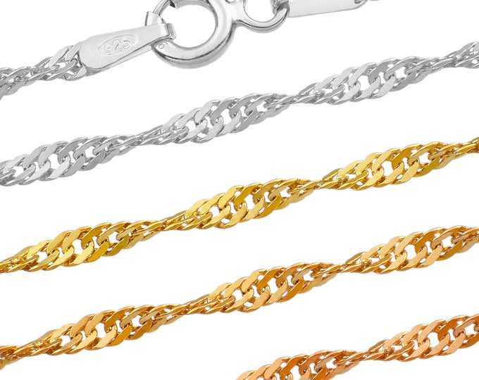 Singapore chains - 925 sterling silver - 40 45 50 55 60 65 70 75 cm - 2 mm