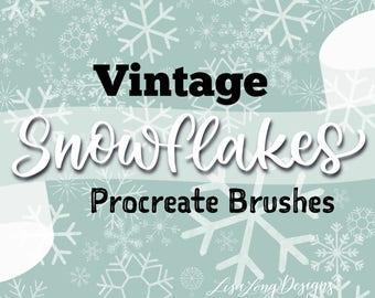 Vintage Snowflake Procreate Stamp Brushes Set of 9