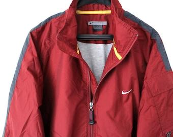 Rare 90 s Nike Windbreaker Vintage Nike Jacket Retro Nike Sweater Hip Hop  Streetwear Brick Red Nike Track Jacket Large Nike Track Top bff17be91