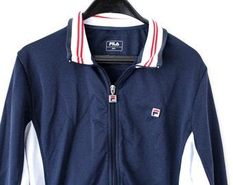 39ece12a5fa1 Blue White Fila Tracksuit Vintage Fila Jacket Fila Windbreaker Zipped Fila  Sweatshirt Fila Sport Jacket Fila Activewear Size L
