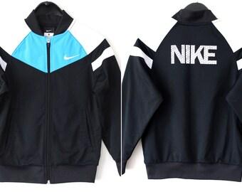 7cdbb5c1b7cff Vintage Nike Jacket Black Nike Windbreaker Retro Nike Tracksuit Rare Nike  Sweatshirt 90 s Nike Tennis Nike Track Jacket Size S 8-10 Years