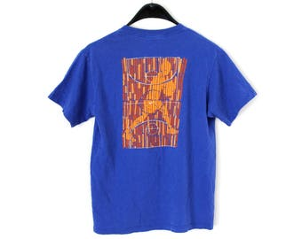 ce3607ee2cb 90 s Nike Basketball Shirt Blue Nike Tshirt Unisex Nike Tee Short Sleeve  Basketball Sweatshirt Nike Made in USA Top Rare Nike Tshirt Size L