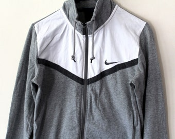 43c19b96f1df Gray White Nike Sweatshirt Vintage 90 s Nike Jacket Nike Windbreaker Hip Hop  Streetwear Nike Tracksuit Nike Tennis Nike Swoosh Size M