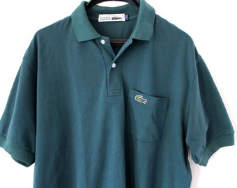 8bb4ba4a39389c Vintage Chemise Lacoste Shirt Made in France Green Lacoste Polo Shirt Short  Sleeve Lacoste Golf T-Shirt Single Pocket Collared Lacoste Shirt
