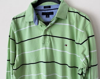 5a45be3311ff Vintage Tommy Hilfiger felpa rara Tommy Hilfiger maglia manica lunga  striscia Hilfiger Polo camicia grande Tommy Tennis vestito Hip Hop Tommy