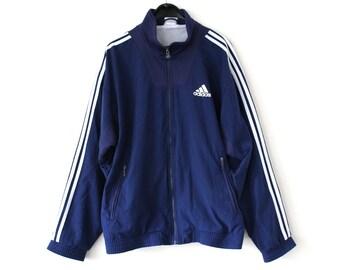 Adidas Trainingsanzug, Hose und Jacke, blau weiß gelb, Retro