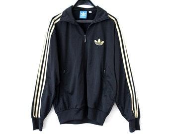 994501dcd017 Vintage Adidas Trefoil Jacket Black Gold Adidas Windbreaker Adidas Tracksuit  Rare Adidas Sweatshirt Adidas Track Jacket Hip Hop Streetwear