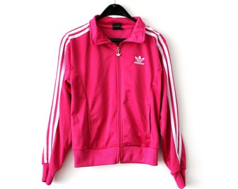 0782890f798d Vintage Adidas Jacket Pink White Adidas Windbreaker Trefoil Adidas Tracksuit  Rare Adidas Sweatshirt Big Logo Hip Hop Streetwear Size M