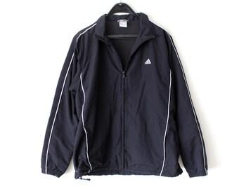 2f864b9a3d49 Vintage Adidas Windbreaker Adidas Track Jacket Black White Adidas  Sweatshirt Hip Hop Streetwear Adidas Track Top Large Size