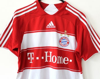 354be4db2 Vintage Adidas FC Bayern Munchen Shirt Red White Home Bundes Liga Jersey  90 s Adidas Football T-shirt Stripe Bayern Munchen Soccer Jersey