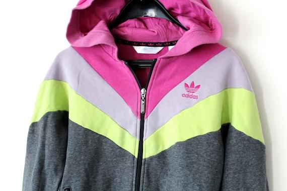 cheap sale cheap for discount premium selection Vintage Adidas Jacke Farbe Block Adidas Sweatshirt grau rosa lila Klee  Adidas Hoodie Damen Adidas Trainingsanzug Hip Hop Streetwear