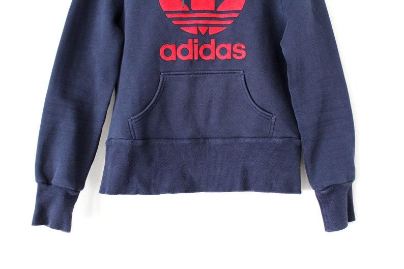 27c298e5567be Blue Red Adidas Sweatshirt Vintage Adidas Hoodie Women's Adidas Jumper Hip  Hop Streetwear Trefoil Adidas Pullover Adidas Sweater