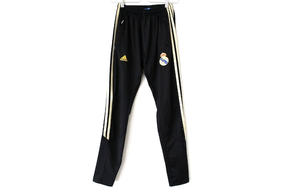 Vintage Adidas Pants Black Gold Track Bottoms Real Madrid Tracksuit Running Pants 90's Football Sport Gym Trousers Women's Size M