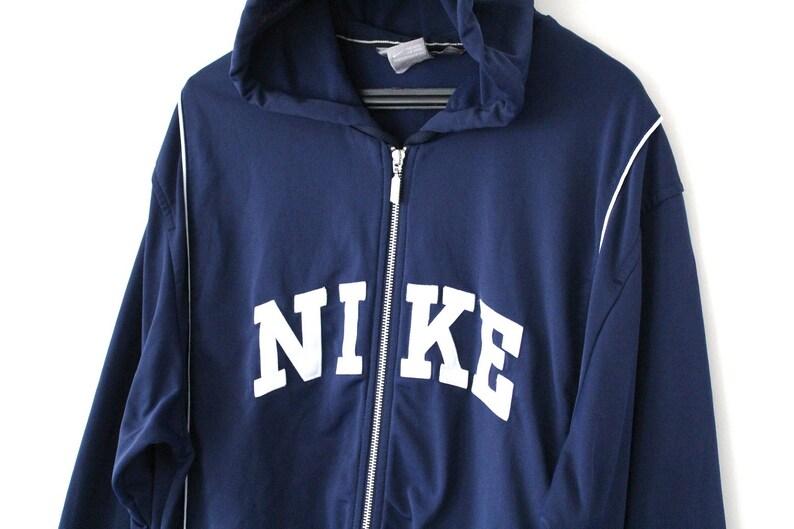 93773a1be5e6 Vintage 90 s Nike Hoodie Blue Nike Sweatshirt Hip Hop Rap