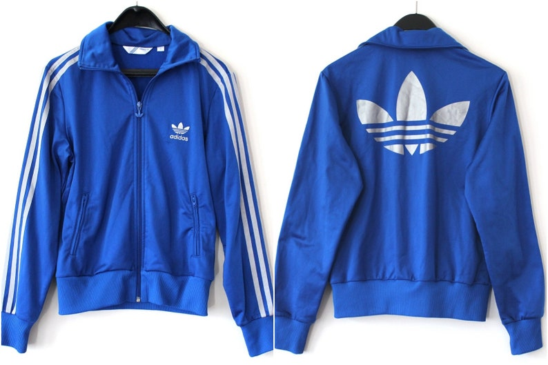 b3d7837e8044 Vintage Adidas Trefoil Jacket Blue Silver Adidas Windbreaker
