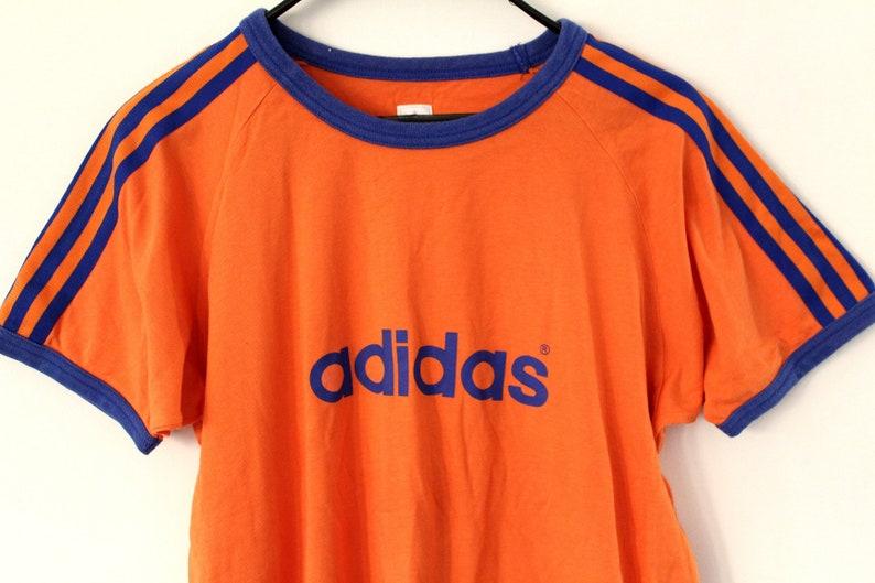da3171b6b2be Vintage Adidas Shirt Short Sleeves Orange Blue Adidas T-Shirt