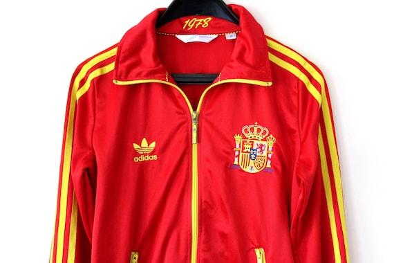 Vintage Adidas Jacke rot gelb Adidas Spanien Fußball 90er Adidas  Windbreaker Klee Adidas Sweatshirt Retro Hip Hop Adidas Trainingsjacke f1ff4e85c5