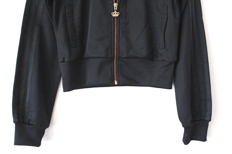 c11505132c77e1 Adidas Crop Jacket Black Gold Adidas Tracksuit Womens Crop Top