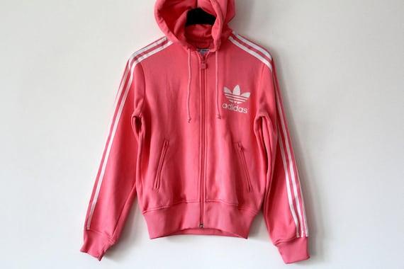 Vintage Adidas Sweatshirt, 90's Adidas Hoodie, Pink Hip Hop Streetwear, Rare Jacket, Retro Tracksuit, Track Jacket, Women's M