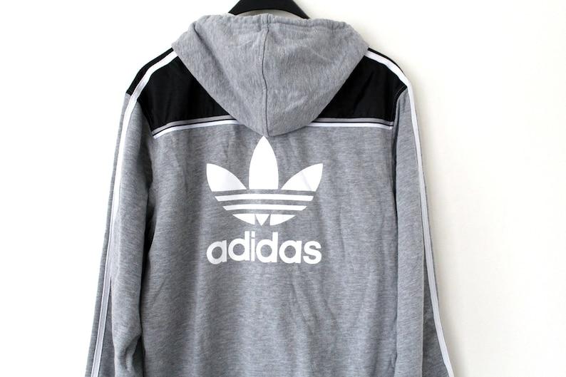 b073ba560176e Vintage Adidas Hoodie Adidas Hip Hop Sweatshirt Brooklyn New York Medium  Size Adidas Track Jacket Gray Adidas Windbreaker Adidas Top