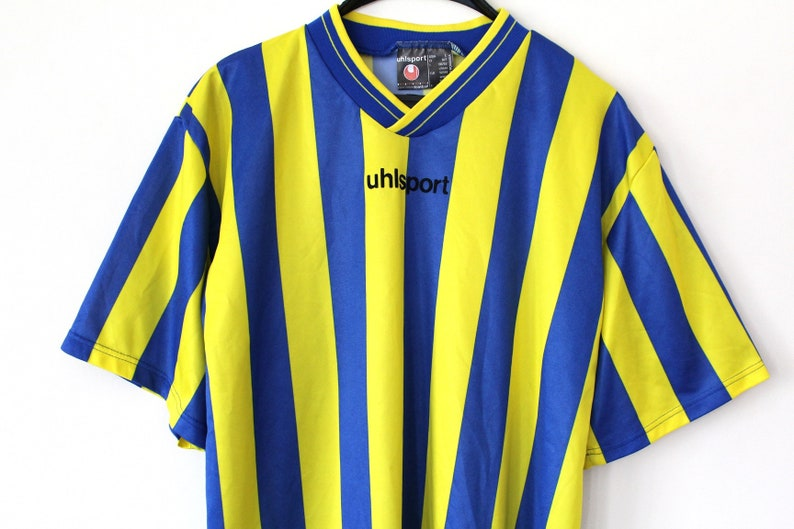 d65913548 Vintage Football Shirt Blue Yellow Soccer Jersey 90 s