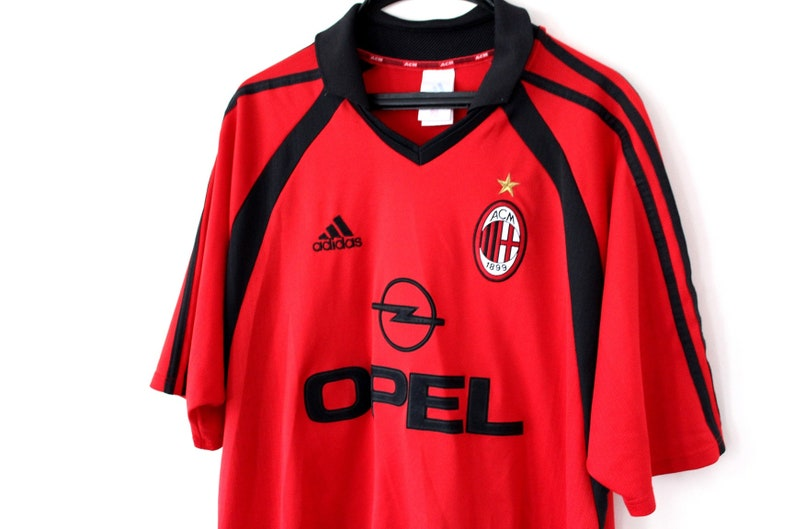 6ce3c12c7 Vintage AC Milan Shirt Red Black Adidas Shirt Italian Team