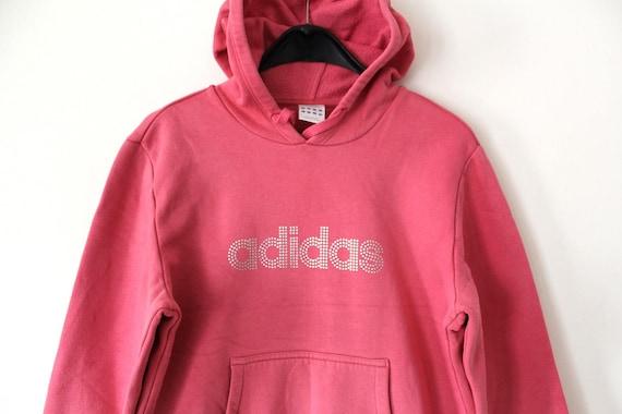 Vintage Adidas Hoodie Hip Hop Streetwear Rare Sweatshirt Pink Track Jacket Retro Jumper Sweater Women's Tracksuit Pullover