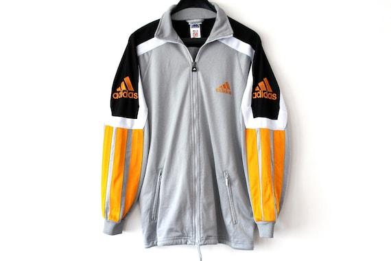 Vintage Adidas Jacket Silver Black Orange Adidas Tracksuit Rare Zip Up Adidas Sweatshirt Big Logo Hip Hop Streetwear Adidas Windbreaker