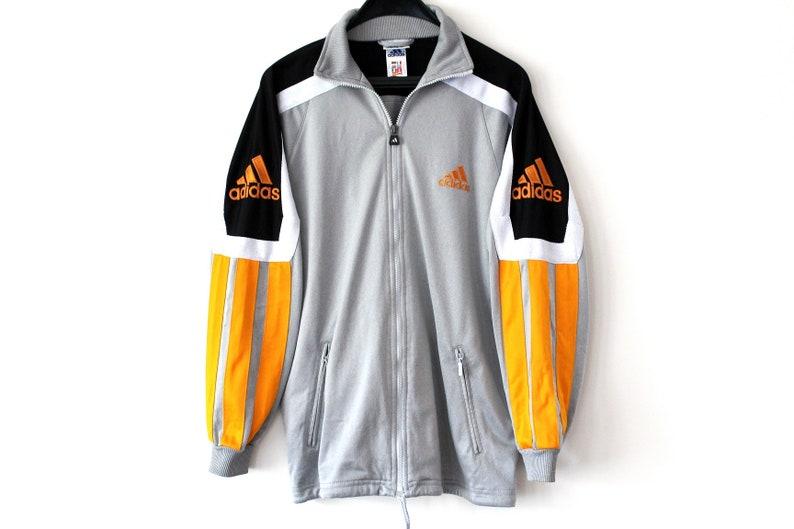 9867399765262 Vintage Adidas Jacket Silver Black Orange Adidas Tracksuit Rare Zip Up  Adidas Sweatshirt Big Logo Hip Hop Streetwear Adidas Windbreaker