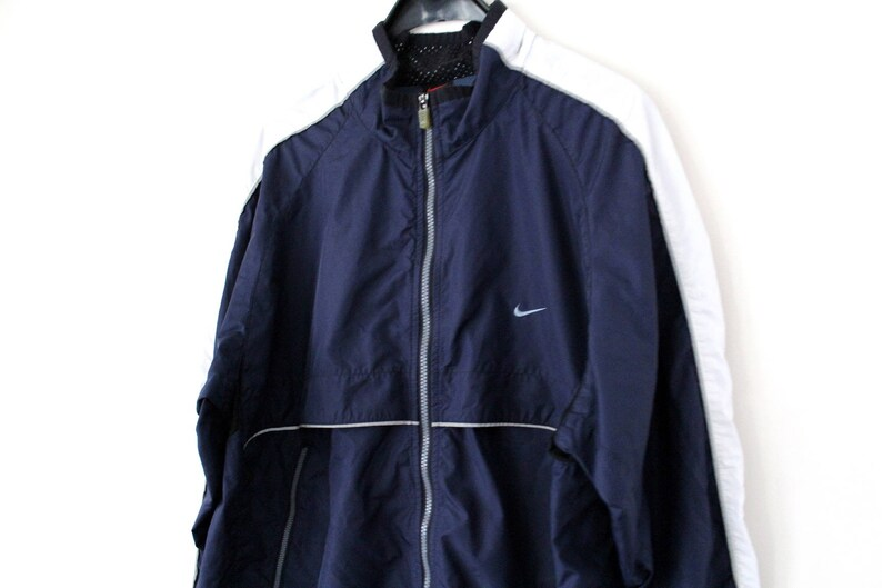 lowest price designer fashion super popular 90's Nike Windbreaker Vintage Nike Jacket Nike Windrunner Nike Sweater Hip  Hop Streetwear Blue White Nike Track Jacket Large Nike Tracksuit