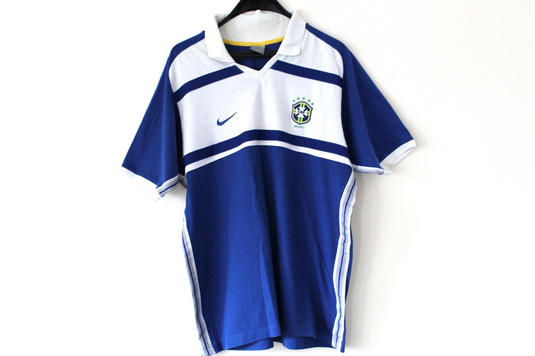 Vintage Brasil Football Shirt 90s Nike Football Shirt Blue White Soccer T-shirt Soccer Tshirt Hip Hop Streetwear Activewear Size Xl Unisex Tshirt