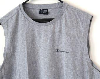 Vintage Champion Tank Top Sleeveless Champion Shirt Gray Champion Tee Rare Champion Activewear XLarge Size Champion T shirt 90s Champion Top