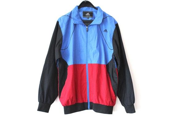 Farbe Block 90er Adidas Windbreaker Vintage Adidas Jacke Adidas Sweatshirt Hip Hop Adidas Trainingsanzug schwarz rot blau Adidas Activewear