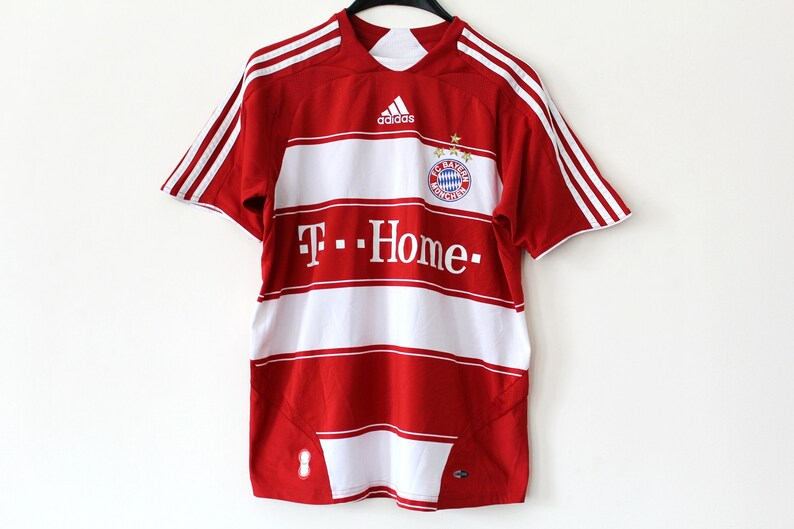 separation shoes 66585 705ce Vintage Adidas FC Bayern Munchen Shirt Red White Home Bundes Liga Jersey  90's Adidas Football T-shirt Stripe Bayern Munchen Soccer Jersey