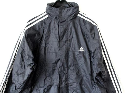 90's Adidas Windbreaker Vintage Adidas Nylon Jacket Black Adidas Sweatshirt Adidas Hooded Jacket Hip Hop Streetwear Long Adidas Windrunner